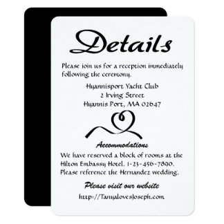 Heart Black And White Details / Directions Wedding Card