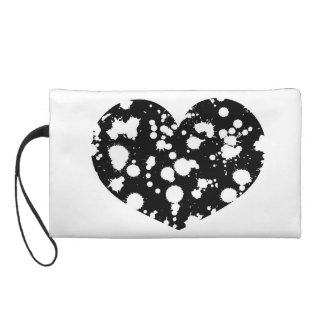 Heart Black and White Splatter Paint Art Customize Wristlets