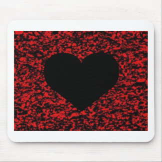 Heart Black Red Mouse Pad