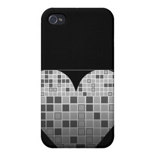 Heart Black White Mosaic iPhone 4 Case