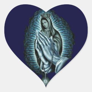 Heart Blessed Virgin Mary Prayer Rosary Heart Sticker