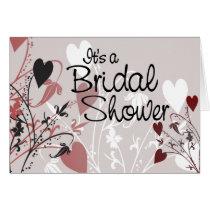 bridal shower, bridal, shower, invitation, card, heart, hearts, romantic, romance, love, bride, groom, wedding, flourish, design, floral, art, Card with custom graphic design