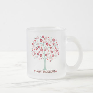 Heart Blossoms Design Frosted Glass Mug