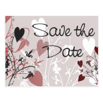 save the date, postcard, announcement, invitation, invite, wedding, bride, groom, romantic, romance, love, heart, hearts, flourish, design, floral, art, weddings, engagements, Postcard with custom graphic design