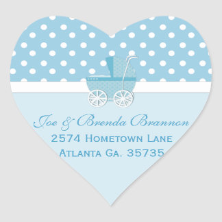 Heart Blue Carriage and Polka Dots Address Labels Heart Sticker