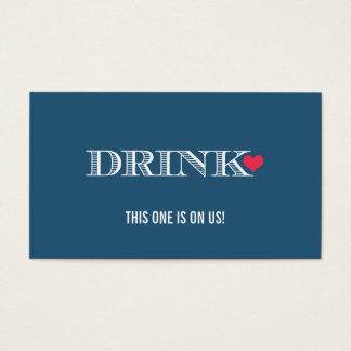 Heart Blue Red Wedding Drink Ticket