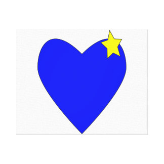 heart blue with yellow star.png gallery wrapped canvas