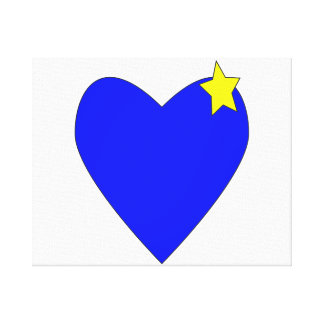 heart blue with yellow star.png canvas prints