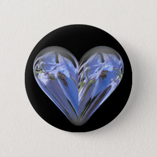 heart bluebell pinback button