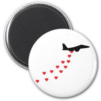 Heart bomber fridge magnet