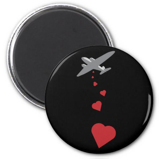 Heart Bomber - Make Love Not War 2 Inch Round Magnet