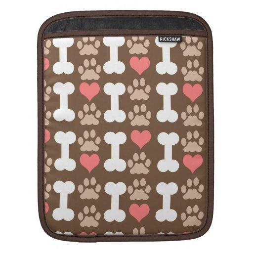 heart bone paw dog iPad sleeves