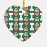 heart bone paws dog christmas tree ornaments