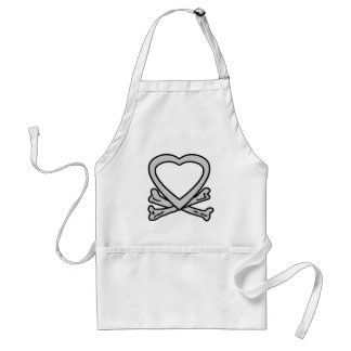 Heart & Bones Grey The MUSEUM Zazzle Gifts Aprons