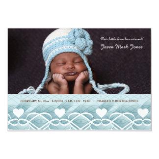 Heart Border Blue Photo Birth Announcement