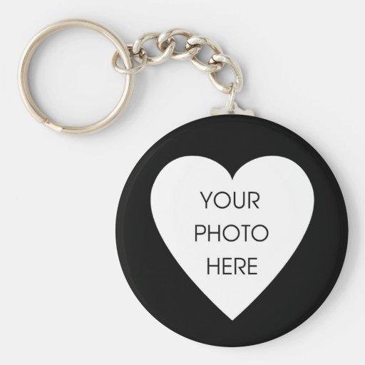 Heart Border Keychain Template - Black