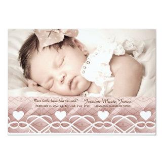 Heart Border Pink Photo Birth Announcement