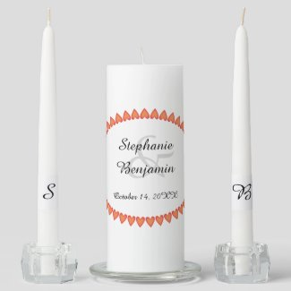 Heart Border Wedding Unity Candle Set