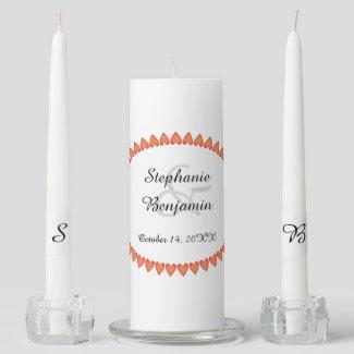 Heart Border Wedding Unity Candle Set