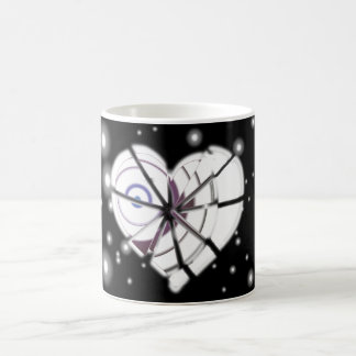 Heart borken in winter coffee mug