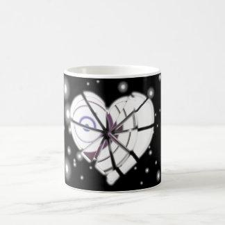 Heart borken in winter coffee mug