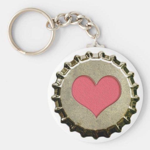 Heart- Bottle cap Keychain