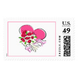 Heart & Bouquet Postage Stamp