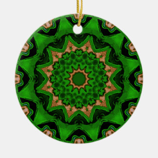 Heart Box Sun Green Double-Sided Ceramic Round Christmas Ornament