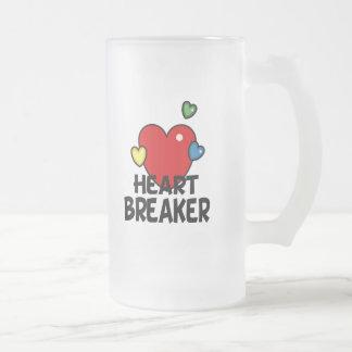 Heart breaker 16 oz frosted glass beer mug