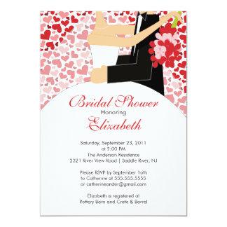 Heart Bride Bridal Shower Invitation Red Pink