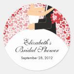 Heart Bride Groom Bridal Shower Sticker Red Pin