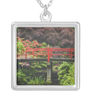 Heart Bridge with blossoming rhododendrons, Silver Plated Necklace