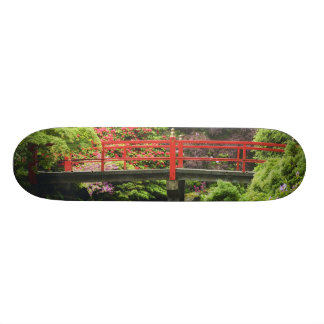 Heart Bridge with blossoming rhododendrons, Skateboard