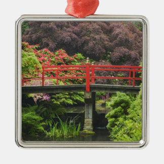 Heart Bridge with blossoming rhododendrons, Square Metal Christmas Ornament