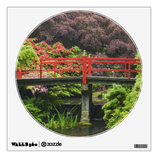 Heart Bridge with blossoming rhododendrons, Wall Sticker