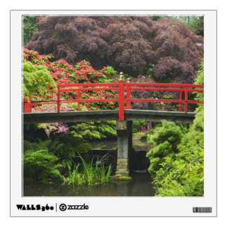 Heart Bridge with blossoming rhododendrons, Wall Decal