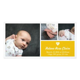 Heart Bright Yellow Birth Announcement Photo Card
