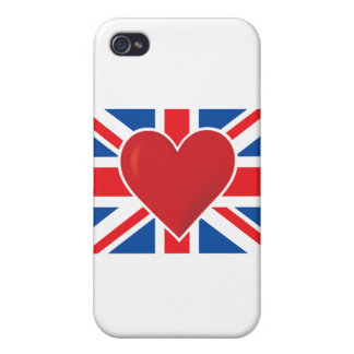 Heart British Flag Case For iPhone 4