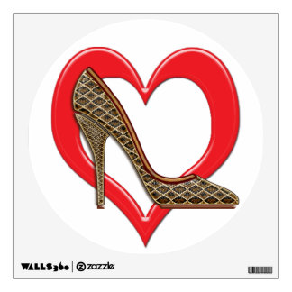 Heart Brown & Gold Snakeskin Stilettos Wall Decal