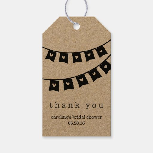 Heart Bunting Rustic Kraft Bridal Shower Thank You Gift Tags Zazzle
