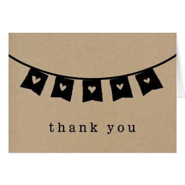 Valentines Themed Heart Bunting Rustic Kraft Thank You Card