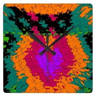 Heart burst multicolor design for anyone square wall clock