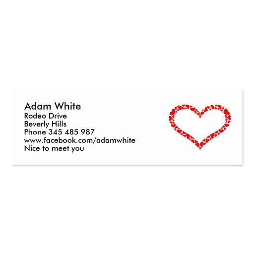 Heart Double-Sided Mini Business Cards (Pack Of 20)