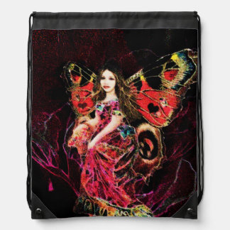 Heart Butterfly Angel Drawstring Backpack