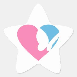 Heart Butterfly in Silhouette Star Sticker