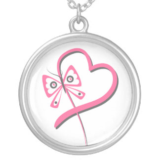 Heart Butterfly Ribbon - Breast Cancer Round Pendant Necklace