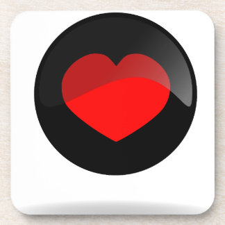 Heart button drink coaster