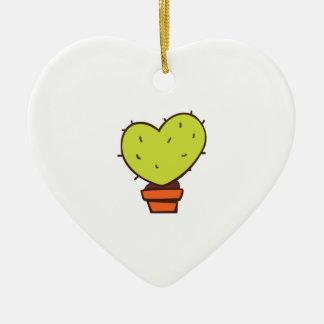 Heart Cactus Double-Sided Heart Ceramic Christmas Ornament