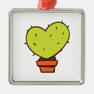 Heart Cactus Square Metal Christmas Ornament