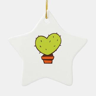 Heart Cactus Double-Sided Star Ceramic Christmas Ornament